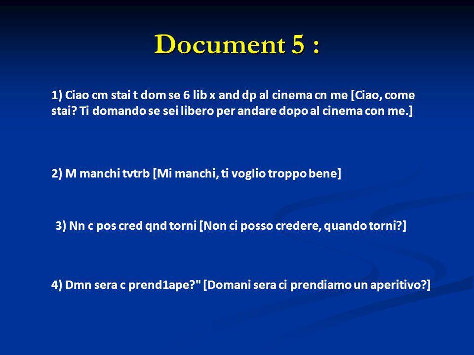 Document 5 : 1) Ciao cm stai t dom se 6 lib x and dp al cinema cn me [Ciao, come stai Ti domando se sei libero per andare dopo al cinema con me.]